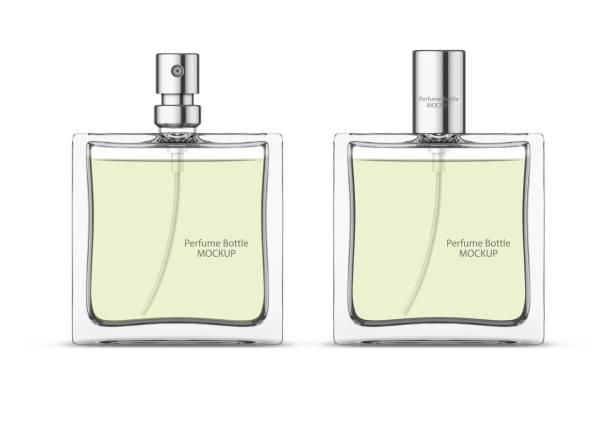 illustrazioni stock, clip art, cartoni animati e icone di tendenza di perfume glass bottle mockup, blank cosmetic bottles template. package design. - profumi spray