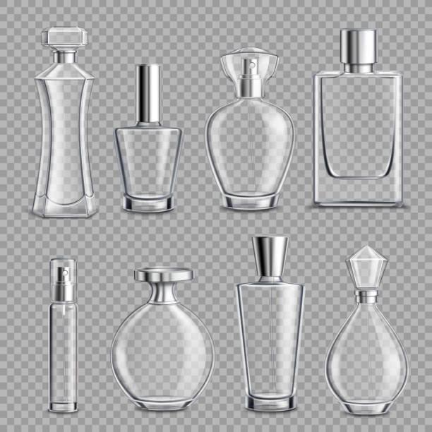 illustrazioni stock, clip art, cartoni animati e icone di tendenza di bottiglie di vetro profumo realistico 3d trasparente - profumi spray