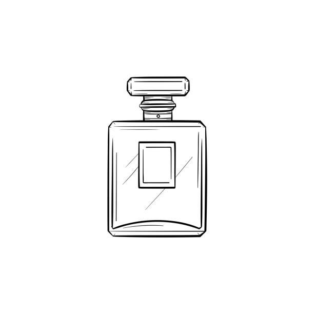 illustrazioni stock, clip art, cartoni animati e icone di tendenza di perfume hand drawn sketch icon - profumi spray