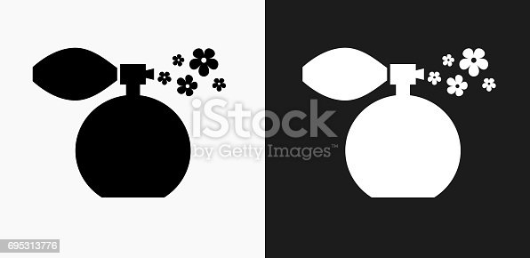 istock Perfume Icon on Black and White Vector Backgrounds 695313776