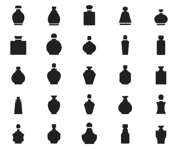 illustrazioni stock, clip art, cartoni animati e icone di tendenza di perfume icon set - profumi spray