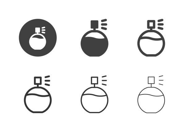 illustrazioni stock, clip art, cartoni animati e icone di tendenza di perfume icons - multi series - profumi spray