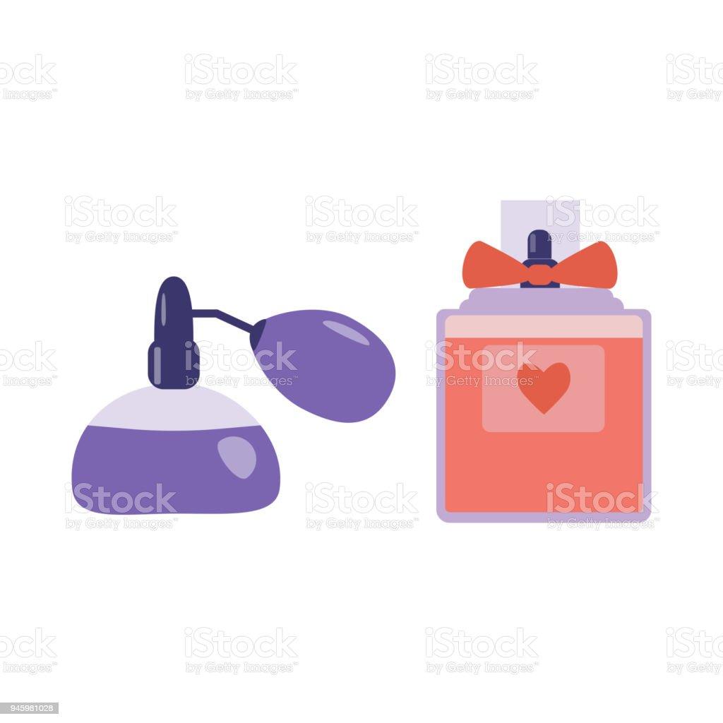 Perfume Spray com atomizador ícones - ilustração de arte em vetor