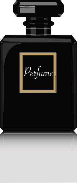 illustrazioni stock, clip art, cartoni animati e icone di tendenza di perfume vector print. black bottle haute couture, beauty stylish illustration. aroma liquid. cosmetic fragrance - profumi spray