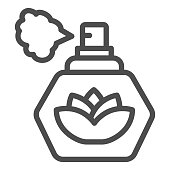 Perfume with lotus flower line icon, Hygiene routine concept, spray fragrance sign on white background, Bottle with lotus blossom for Beauty Salon or spa icon in outline. Vector graphics