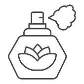 Perfume with lotus flower thin line icon, Hygiene routine concept, spray fragrance sign on white background, Bottle with lotus blossom for Beauty Salon or spa icon in outline. Vector graphics