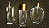 Perfumery Products, Toilet Water Mockup Vector Set