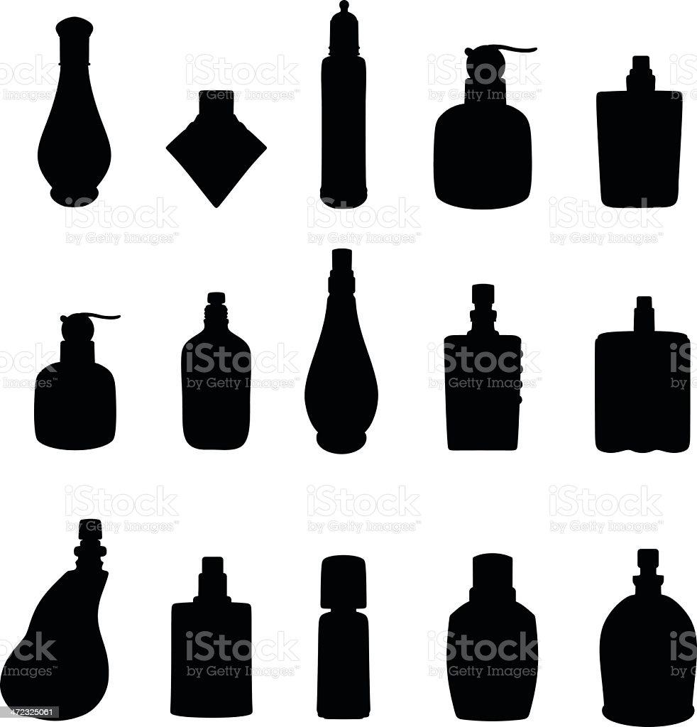 Perfumes silhueta - ilustração de arte em vetor