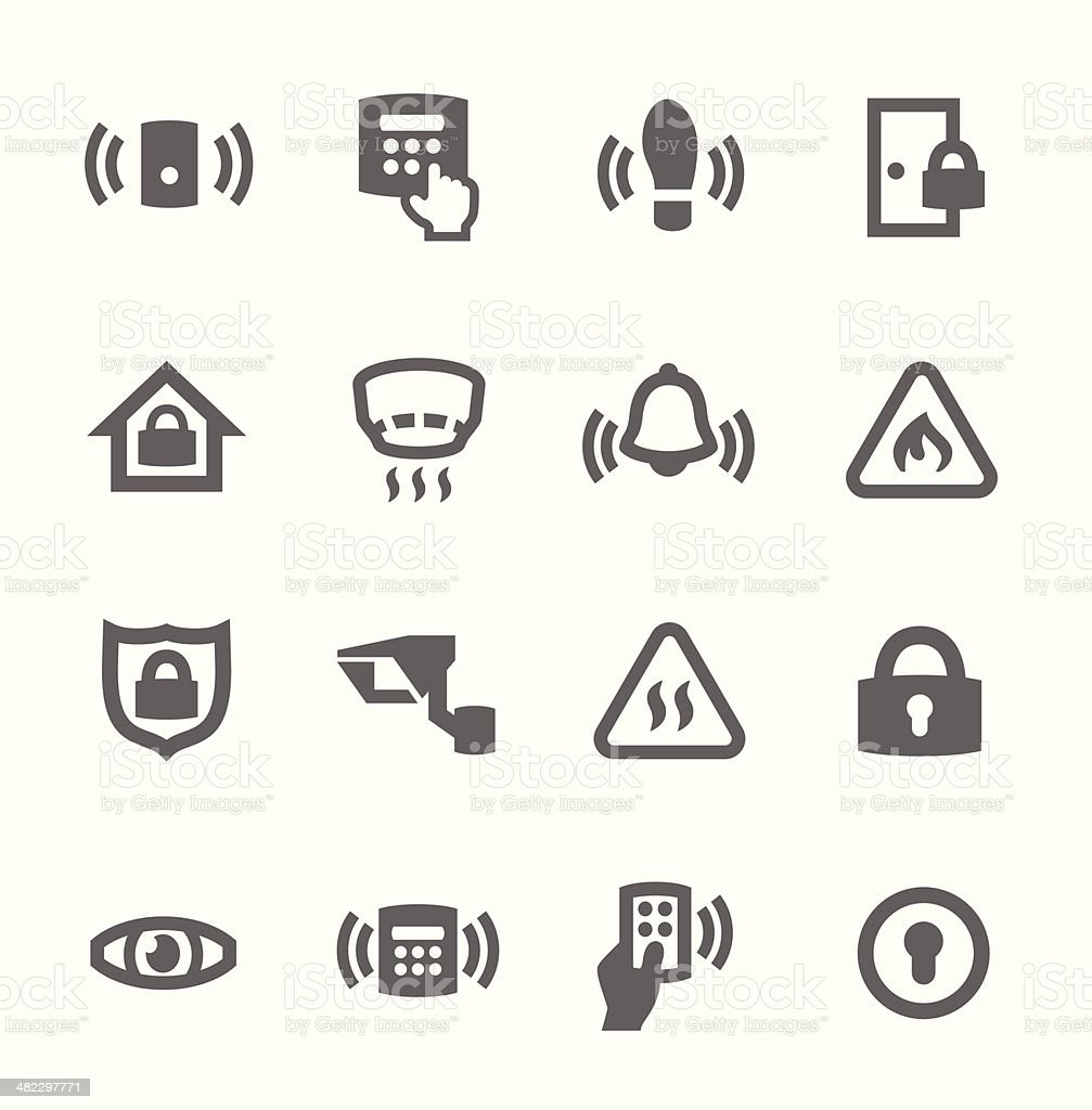 Perimeter security icons vector art illustration