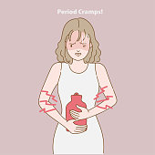 Women menstrual pain. Painful periods and menstrual. Woman having stomach cramps. She holding hot water bottle. Feeling very unwell. Cramp problems concept. Simple line drawing hand.