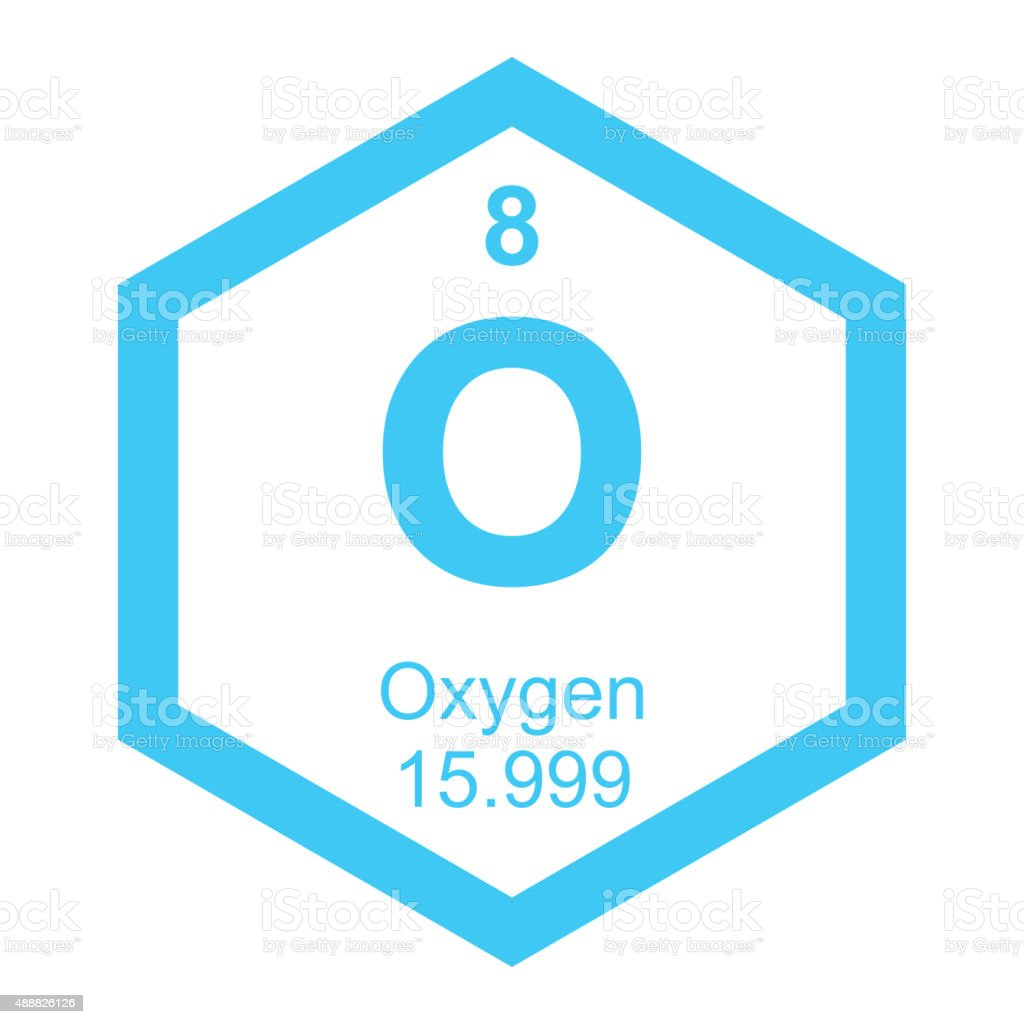 Periodic table Oxygen element vector art illustration