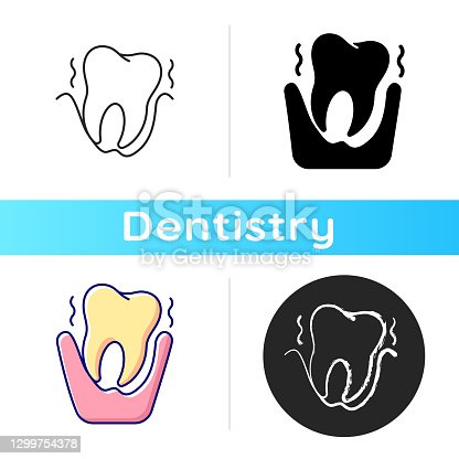 Periodontology icon. Tooth problems. City family dentistry. Gum disease. Dental surgery. Dental equipment. Linear black and RGB color styles. Isolated vector illustrations