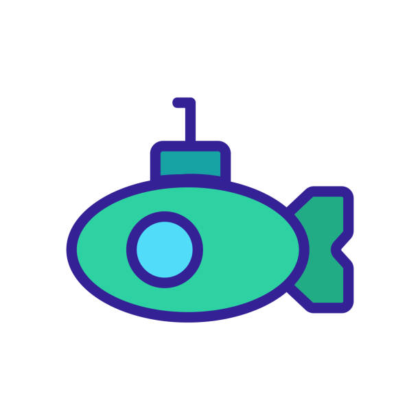 ilustrações de stock, clip art, desenhos animados e ícones de periscope submarine icon vector. isolated contour symbol illustration - swim arms