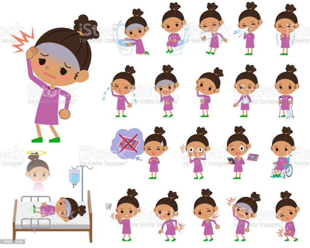 perm hair girl_sickness vector art illustration
