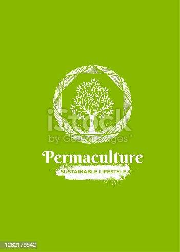 istock Permaculture Homestead Sustainable Farm Logo. Organic Tree Illustration 1282179542
