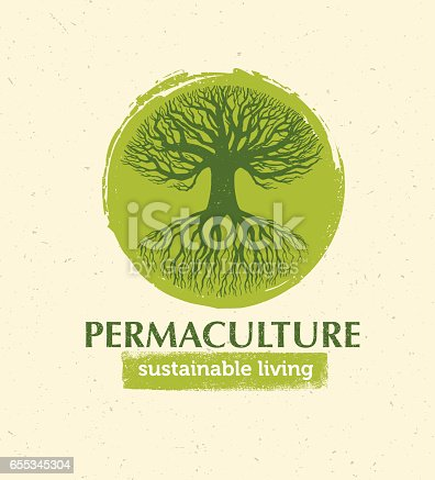 istock Permaculture Sustainable Living Creative Vector Design Element Concept. Old Tree With Roots Inside Rough Circle 655345304