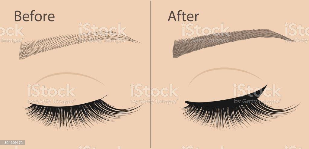 Permanent Make-up. Eyeliner und Korrektur Augenbraueformen. Vor und nach. Salon-Verfahren. – Vektorgrafik