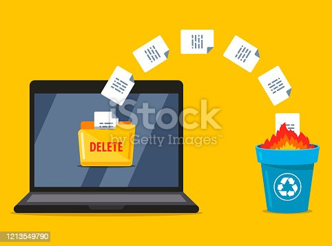 permanently deleting documents from the laptop to the trash. data burning. flat vector illustration.