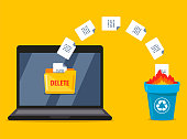 istock permanently deleting documents from the laptop to the trash. data burning 1213549790
