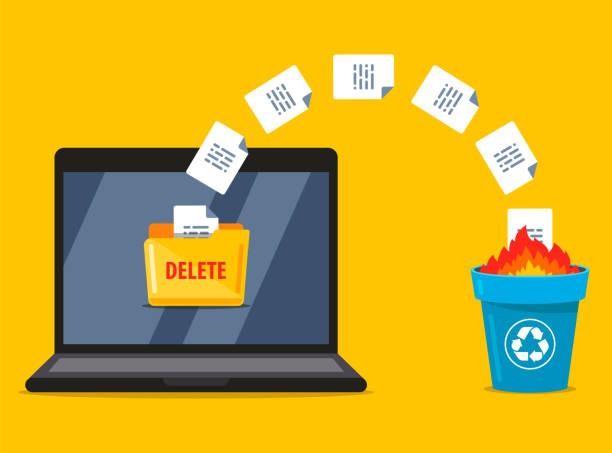 stockillustraties, clipart, cartoons en iconen met permanent verwijderen van documenten van de laptop naar de prullenbak. gegevens branden - absentie