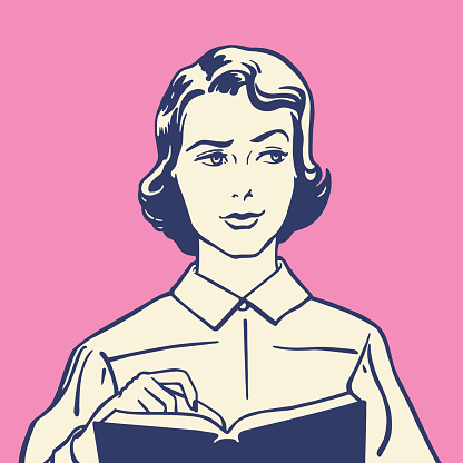 Perplexed Woman With Book
