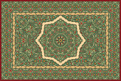 Vintage Arabic pattern. Persian colored carpet. Rich ornament for fabric design, handmade, interior decoration, textiles. Green background.
