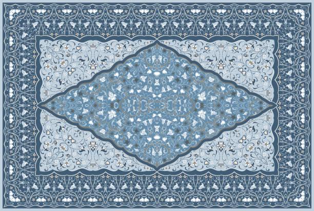 farbige perserteppich. - wollteppich stock-grafiken, -clipart, -cartoons und -symbole