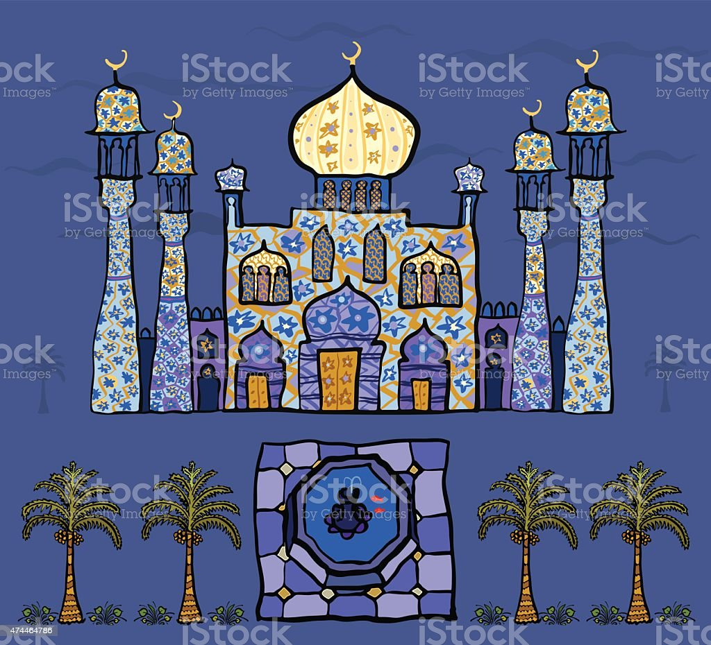 Persian fairy tale vector art illustration