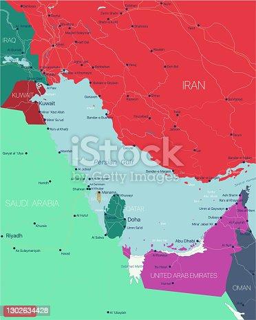 Persian Gulf region editable map