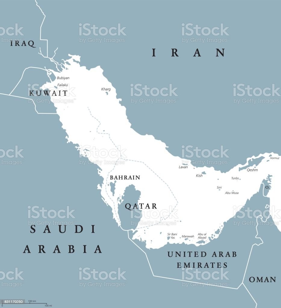 Persian Gulf Region Political Map Blue Gray Stock Vector Art & More ...