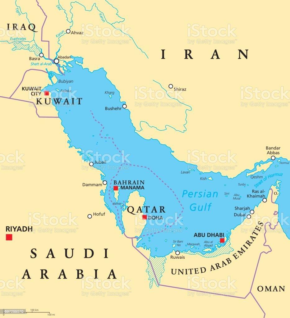 Persian Gulf region political map vector art illustration