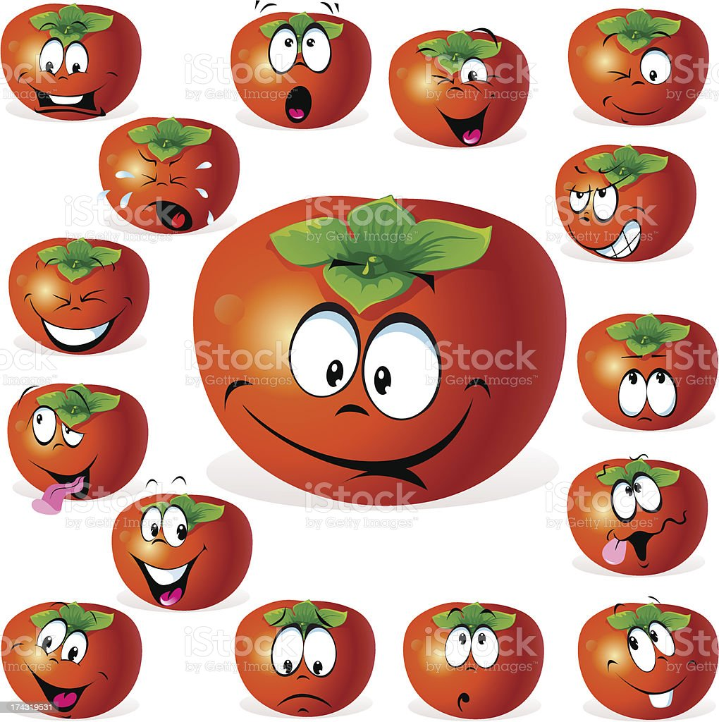 persimmon fruit cartoon with many expressions royalty-free persimmon fruit cartoon with many expressions stock vector art & more images of anger