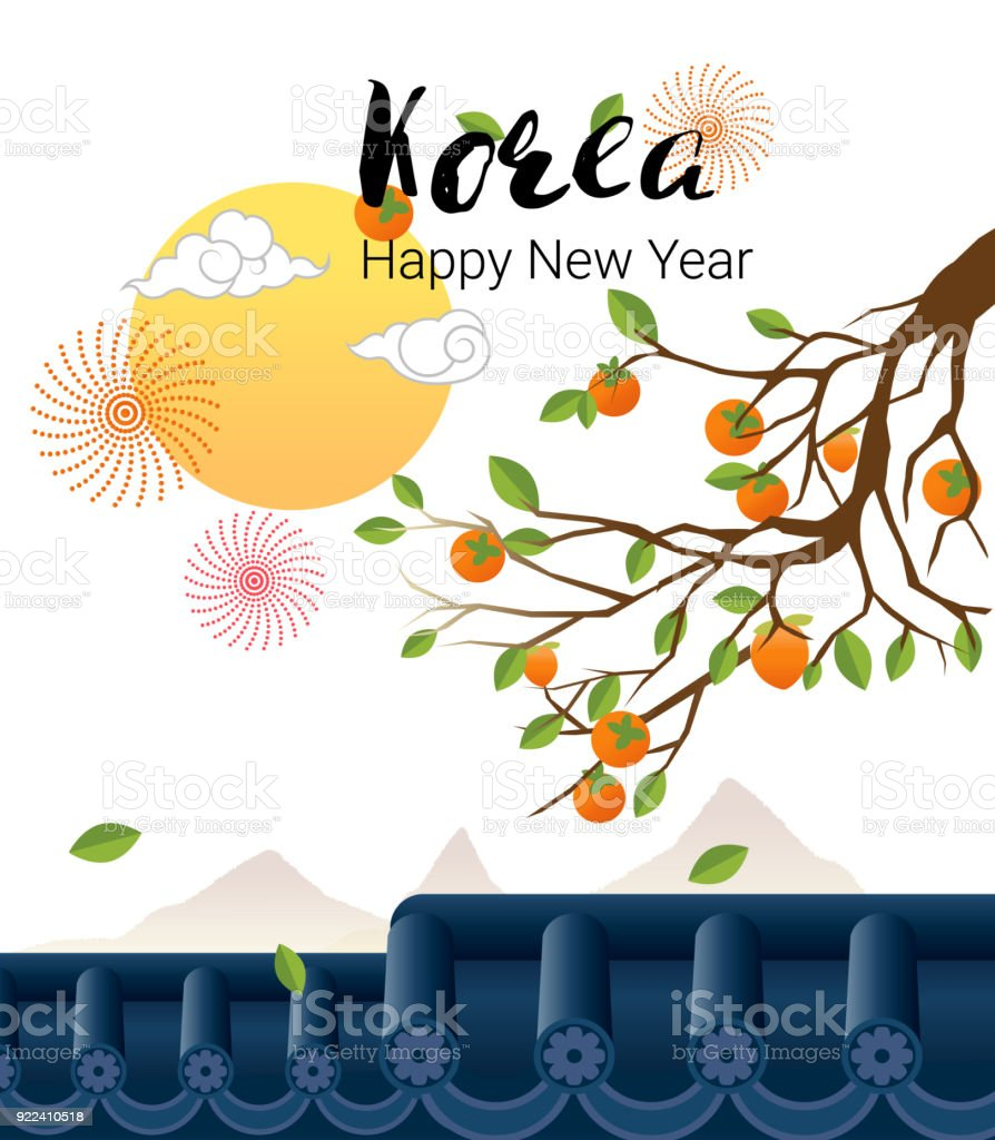 Persimmon tree with roof in korean traditional sun cloudcartoon persimmon tree with roof in korean traditional sun cloudcartoon style for happy m4hsunfo
