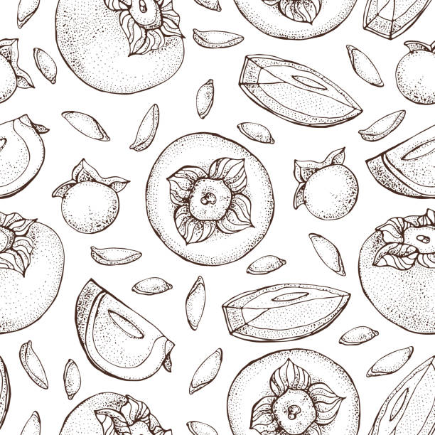 ilustrações de stock, clip art, desenhos animados e ícones de persimmon vector seamless pattern. hand drawn object with persimmon sliced piece and seeds on white background. fruit sketch style wallpaper. detailed vegetarian food sketch. - diospiro