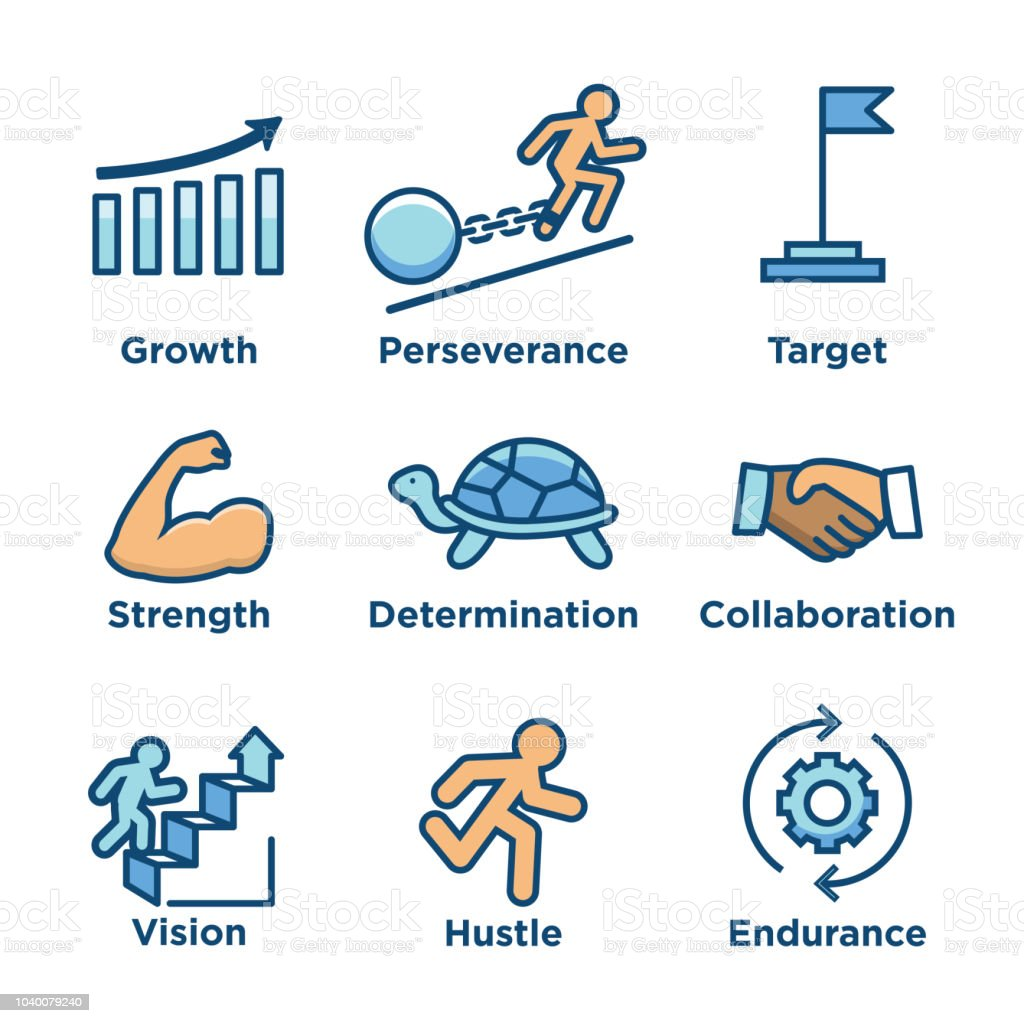Persistence Icon Set With Image Of Extreme Motivation And Drive Set
