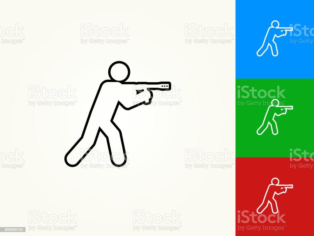 Person Aiming Paintball Gun Black Stroke Linear Icon vector art illustration