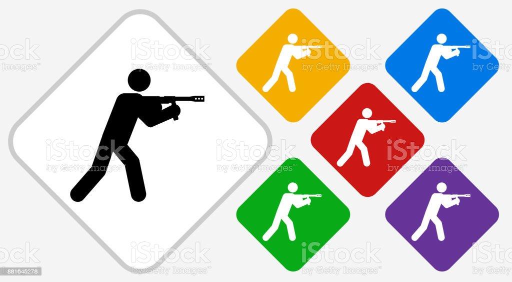 Person Aiming Paintball Gun Color Diamond Vector Icon vector art illustration
