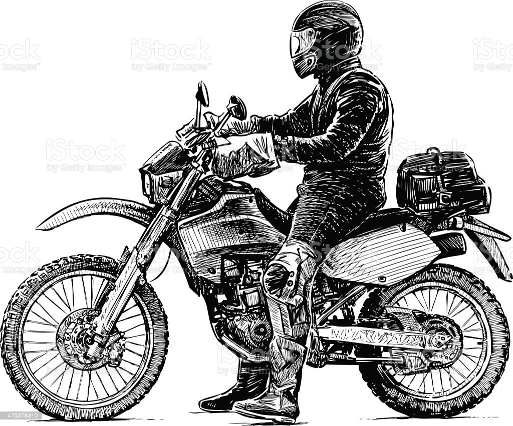 person and a motorcycle vector art illustration
