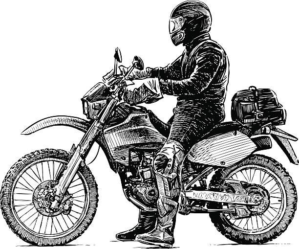 person und ein motorrad - fahrzeug fahren stock-grafiken, -clipart, -cartoons und -symbole