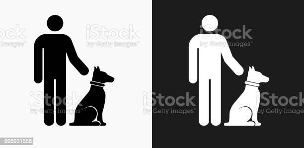 Person and dog icon on black and white vector backgrounds vector id695931568?b=1&k=6&m=695931568&s=612x612&h=bi8oaeqiw6yxvwbyiifmtyeiavitcahiwrkh7rq6pns=