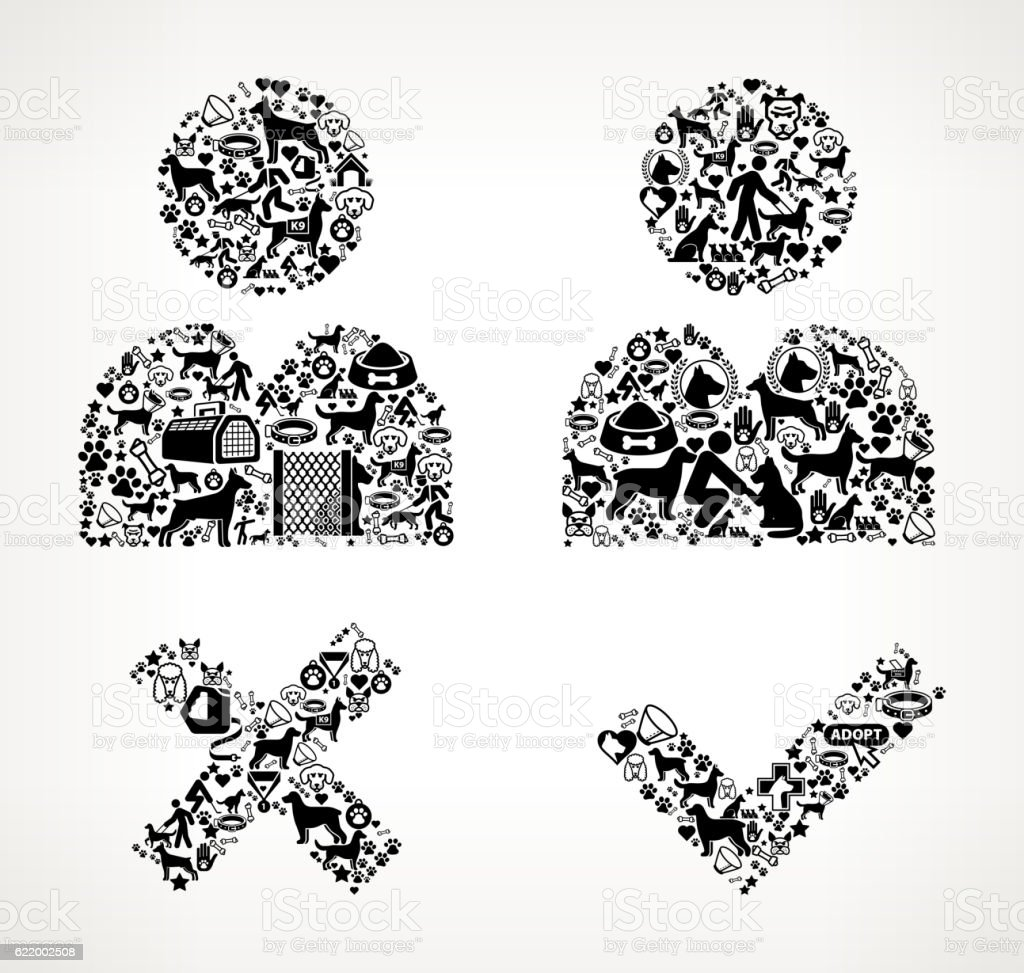 person approval rejection dog and canine pet black icon pattern