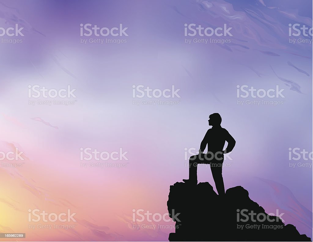 Person at the lookout point looking at the scenery royalty-free stock vector art