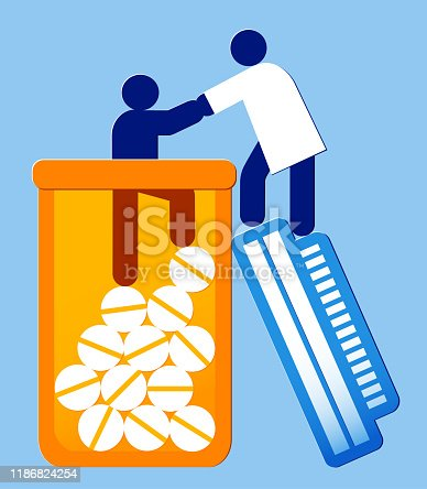 vector icon illustration of a person being helped out of a bottle by a healcare worker