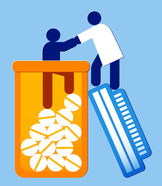 person being helped from a pill bottle by a healthcare provider - addiction treatment concept vector icon illustration of a person being helped out of a bottle by a healcare worker crisis stock illustrations