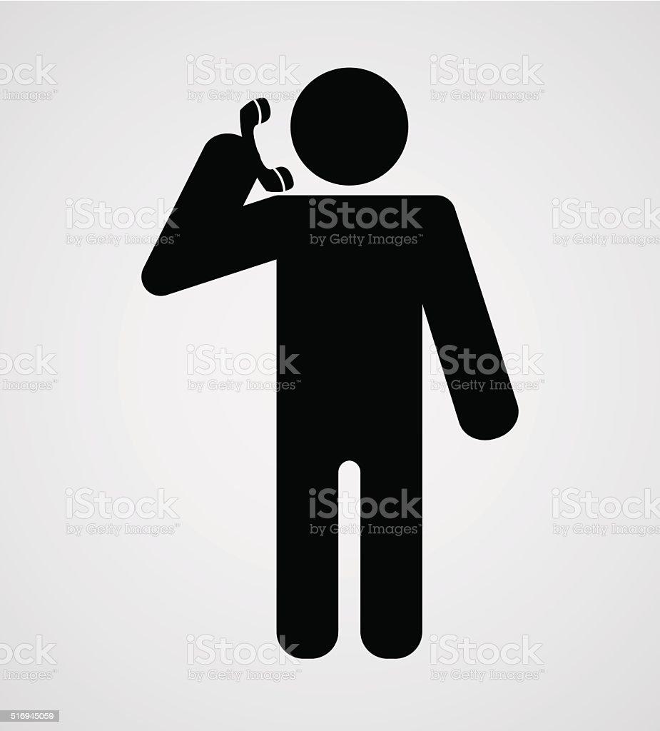 person call phone icon vector art illustration