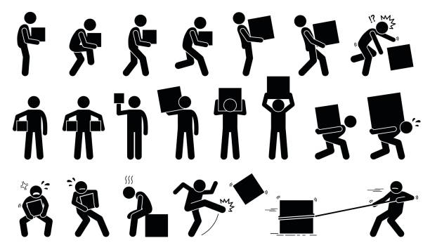 Person carrying heavy box. Man carrying and picking a box in various poses, postures, and positions. carrying stock illustrations