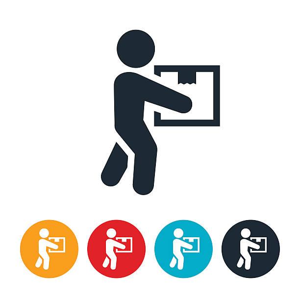 illustrazioni stock, clip art, cartoni animati e icone di tendenza di persona portare il pacchetto icona - portare