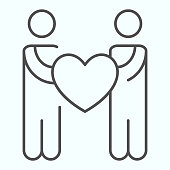Person Charity thin line icon. Two people holding heart vector illustration isolated on white. Health charity outline style design, designed for web and app. Eps 10