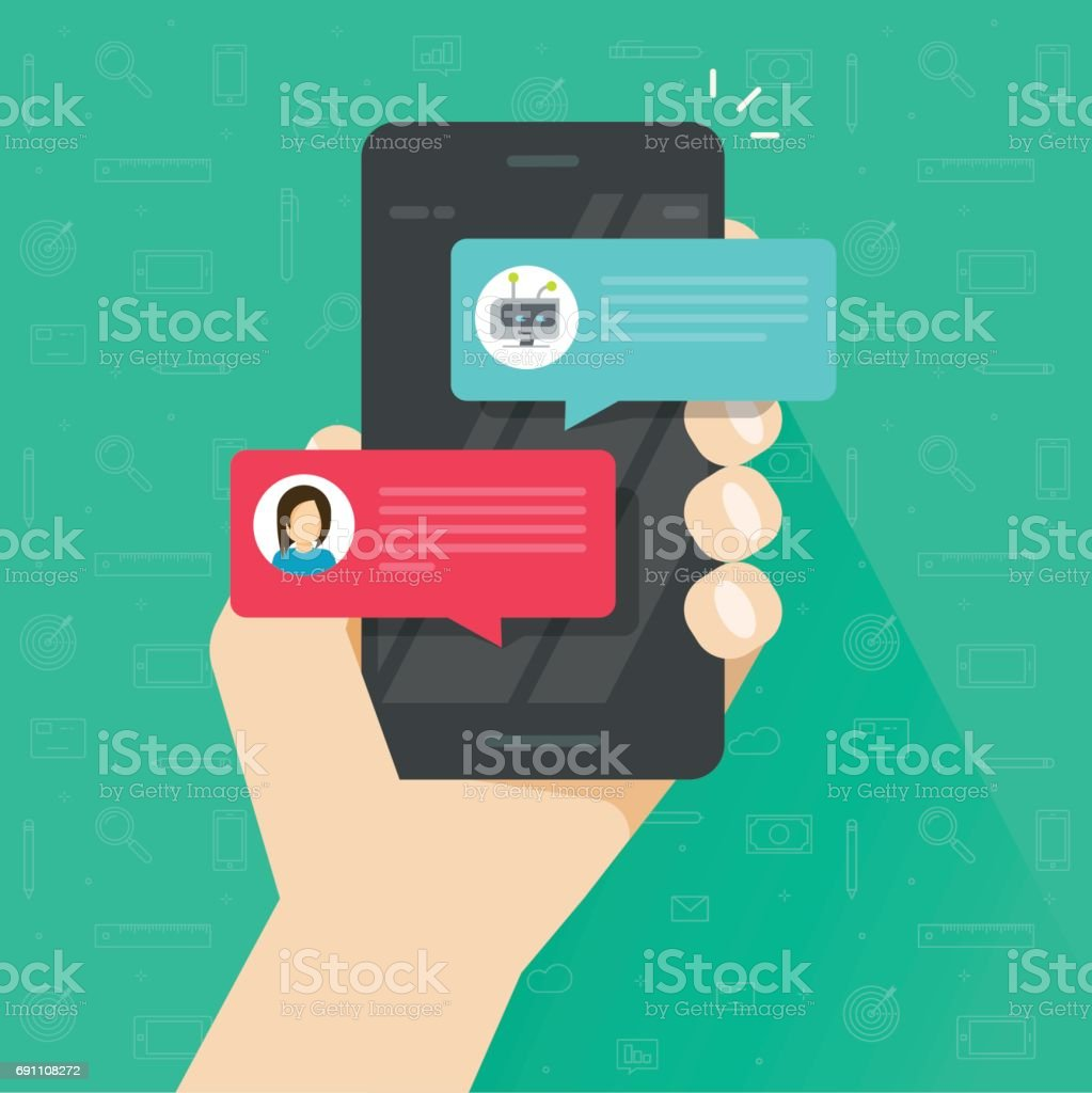 Person chatting with chatbot in mobile phone vector, flat cartoon smartphone with chat bot discussion, cellphone messenger with chatbot service, communication technology vector art illustration