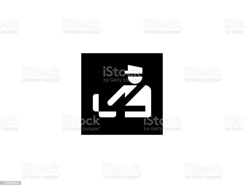 Een vectorpictogram voor de controle van bagage. Geïsoleerde douaneambtenaar, het vlak symbool van de veiligheidscontrole - Vector - Royalty-free Amsterdam vectorkunst